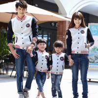 新款亲子装秋装韩版母女一家三口装棒球服运动休闲卫衣家庭装
