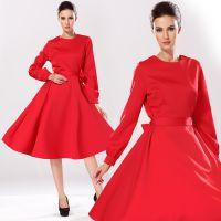 欧美2014秋冬女装修身女裙 圆领长袖优雅红色大摆连衣裙
