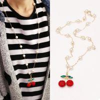 韩国新款珍珠长款项链 女士樱桃毛衣链韩版时尚服装配饰混批