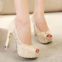 时尚2014年韩版新款女鞋 高跟鞋粗跟蕾丝OL女鞋 鱼嘴罗马女凉鞋