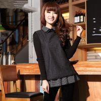 2014秋冬新款针织长袖呢子打底衫娃娃领 长款t恤衫韩版上衣女1789