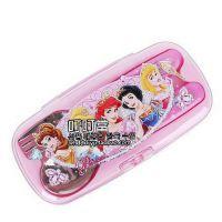 韩国进口正品 disnep系列公主勺叉盒套装 儿童专用勺叉带宽盒套装
