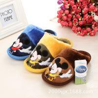 正品Disney迪士尼帅气中童冬季拖鞋新款米奇儿童家居棉拖鞋14895