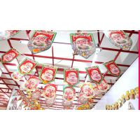 圣诞精品小吊旗 圣诞装饰吊旗 圣诞彩旗拉花 2.5米四方吊旗 6面旗