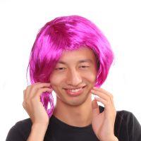 粉红色 短发直发COS 舞会女生BOBO头彩色表演齐平刘海假发套