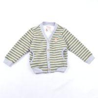 韩版童装 条纹V领儿童针织衫 碗口袋加绒童开衫 休闲儿童打底衫