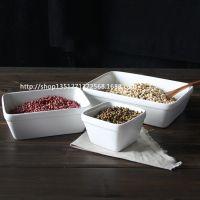 日式陶瓷餐具长方形沙拉碗烘焙用具日式杂货个性甜品碗