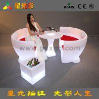 主题休闲塑料餐厅椅子 工厂直销LED发光凳子 梅花兴塑料餐桌