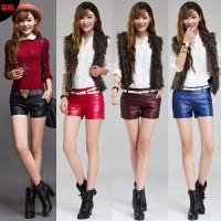 韩版女士性感PU皮短裤低腰显瘦紧身短裤靴裤潮(自主实拍)