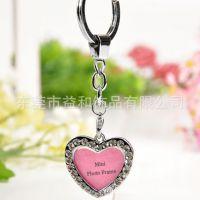 创意金属相框情侣钥匙扣 影楼照片广告促销镶钻爱心钥匙圈 礼品