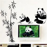 厂家批发  欧式电视/沙发背景DIY熊猫创意组合墙贴 可移除AY9051