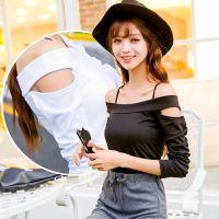 东大门 韩版女装秋装性感一字领露肩显瘦吊带长袖新款打底衫