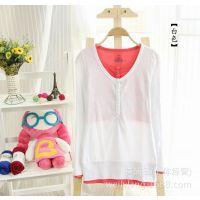 韩国外贸原单女装纯棉长袖t恤女款春秋假两件打底衫一件代发上衣
