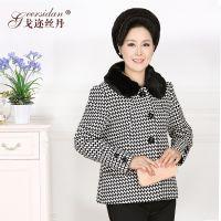 中老年女装秋装外套新款中年女装妈妈秋冬装长袖千鸟格毛呢外套