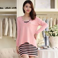 实拍  2014秋装新款韩版两件套连衣裙女 中长款长袖条纹打底衫