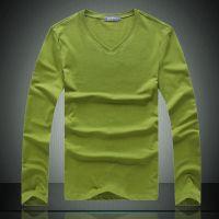 供应批发一件代发男装 男V领莱卡弹力纯色长袖打底衫长T恤Lpwt13550