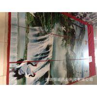 仿古砖背景墙彩绘机价格 酒店大堂艺术背景墙彩绘机生产厂家
