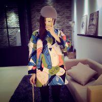 6度欧美2014秋冬新款韩国时尚百搭短款抽象人头图案连衣裙