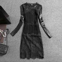 2015年新款打底衫 中长款蕾丝拼接长袖打底衫女货真价实批发