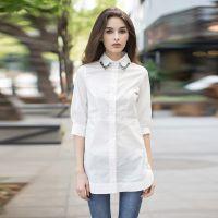 工厂订制韩版修身衬衫领口钉珠镶钻翻领中长款衬衫气质打底衫