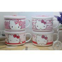 韩日式带手把大号拉泡面杯碗饭方便面碗卡通陶瓷碗带盖餐具