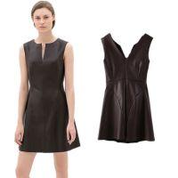 XZ0152014欧美新款女装PU皮性感V领裙无袖背心连衣裙 百搭女裙
