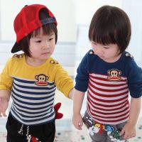 2014春季新款童装 男童女童韩版条纹长袖T恤 小童时尚长袖打底衫