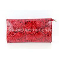 2013年新款 A1358红色复古蛇皮菱格包 漆面仿皮休闲女包