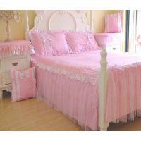 粉色公主全棉床裙床罩