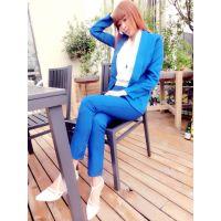 欧洲站秋款时尚长袖V衬衣+显瘦西装+高腰短裤套装三件套