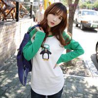 2014秋冬 一件代发韩版插肩袖猫头鹰纯棉长袖T恤 女上衣厚打底衫