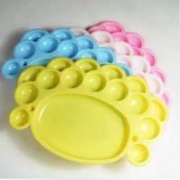 供应儿童彩色调色盘 彩色小脚丫 调色碟 调色板 水彩水粉调色盘