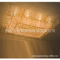 传统时尚豪华长方形客厅餐厅吸顶灯经典水晶灯带遥控器