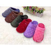 2014新款男女士居家冬季保暖棉拖鞋 方块图案毛绒绒糖果色棉拖鞋