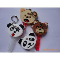 厂家生产PVC软胶钥匙套,精美卡通熊猫钥匙套