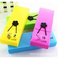 正品韩国儿童 荧光创意文具盒 彩色化妆盒 纽扣松紧带笔盒笔袋