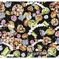 数码印花纺织面料 蝴蝶印花 服装印花面料 仿真丝热转印厂家