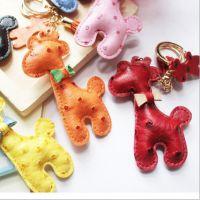 2014新款 出口韩国 鸵鸟纹皮质长颈鹿钥匙扣  包包挂件 车挂件