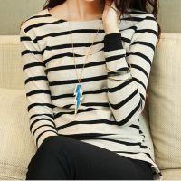 秋装新款大码女装圆领条纹打底衫t恤女长袖韩版修身潮