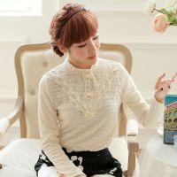 秋冬韩国女装蝴蝶结绣花蕾丝打底衫淑女优雅加绒修身保暖蕾丝衬衫