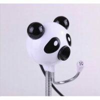 供应熊猫头台式usb电脑摄像头 高清免驱1200万像素 带麦克风话筒批发