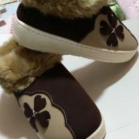 幸运草情侣家居棉拖鞋包跟厚底防滑冬季拖鞋可爱女男居家棉鞋