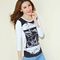 2014秋季新款韩版女装修身通勤印花长袖打底衫T恤