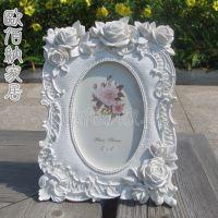 一件起小额混批纯白玫瑰田园欧式椭圆相框结婚婚纱影楼照片框批发