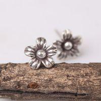 925纯银耳钉批发 泰国进口花朵耳饰 纯手工制作 复古曼谷银饰精品