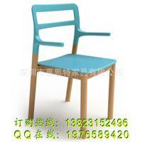 扶手实木脚椅子 塑木组合塑料椅子