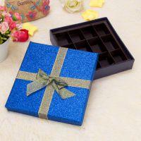 12格蓝色撒粉巧克力礼盒 情人节礼品盒 玫瑰包装盒 送女友礼盒