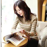 2014秋装新款女装 海魂衫打底衫 韩版条纹修身羊毛衫针织衫