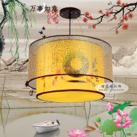 供应新款中式木艺羊皮吊灯酒楼包间餐吊灯中式古典羊皮灯