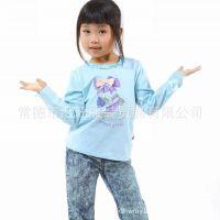 品牌野豹童装 2014春秋女童纯棉卡通印花长袖T恤 打底衫正品环保